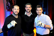 Julian Speroni poses with two fans that won his match worn signed gloves duringThe gloves are off. An Evening With Julian Speroni at  at Fairfields Hall, Croydon, United Kingdom on 20 January 2015. Photo by Michael Hulf.