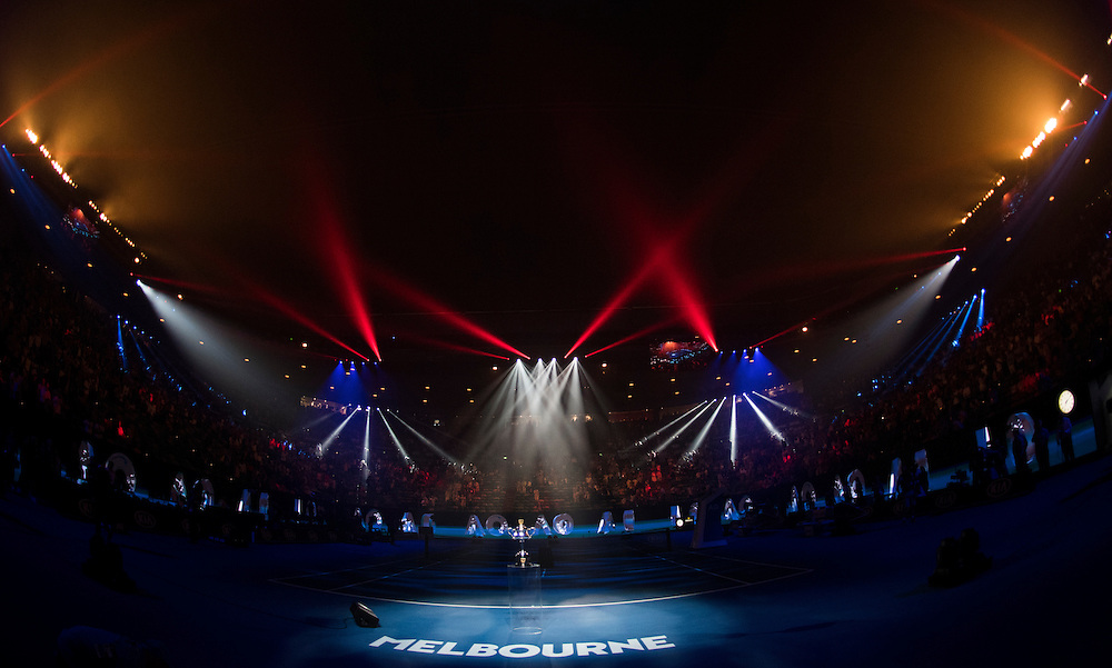 Rod Laver Arena light show ahead of the women's final on day thirteen of the 2017 Australian Open at Melbourne Park on January 28, 2017 in Melbourne, Australia.<br /> (Ben Solomon/Tennis Australia)