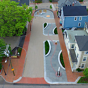 Aerial view of   the African Burying Ground memorial in Portsmouth, NH, looking straight down. Taken on a cloudy morning.