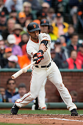 SAN FRANCISCO, CA - APRIL 09:  Angel Pagan #16 of the San Francisco Giants hits a single against the Los Angeles Dodgers during the first inning at AT&T Park on April 9, 2016 in San Francisco, California.  (Photo by Jason O. Watson/Getty Images) *** Local Caption *** Angel Pagan