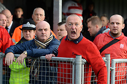 Caption correction* Angary Doncaster Fans protest as the game is called off.- Photo mandatory by-line: Alex James/JMP - Mobile: 07966 386802 - 08/11/2014 - SPORT - Football - Weston-super-Mare - Woodspring Stadium - Weston-super-Mare v Doncaster - FA Cup - Round One