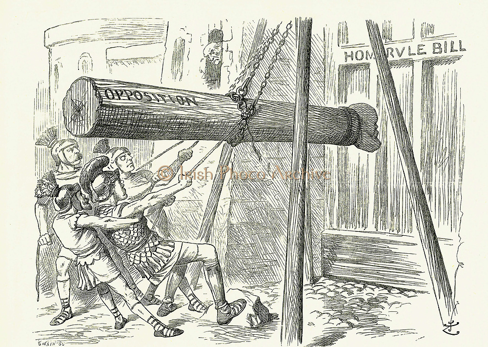 The Assault':  Gladstone's Liberal Home Rule Bill under attack from the Conservative opposition attack by the battering ram with the head of the leader Lord Salisbury.  John Tenniel cartoon from 'Punch', London, 18 March 1893.
