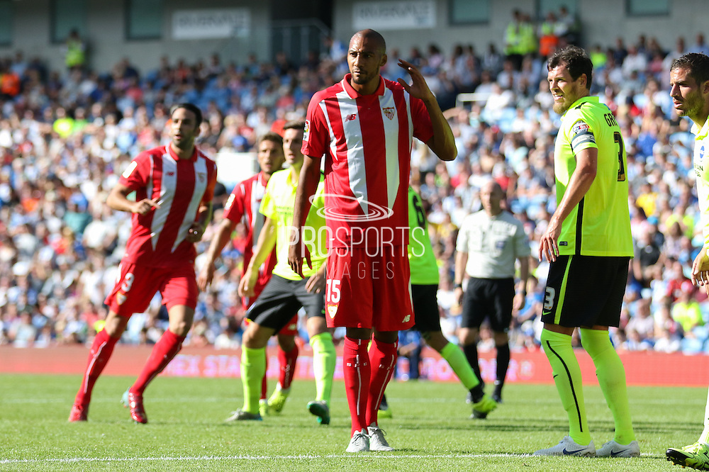 Steven N'Zonzi of Sevilla during the Pre-Season Friendly match between Brighton and Hove Albion and Sevilla at the American Express Community Stadium, Brighton and Hove, England on 2 August 2015. Photo by Ellie Hoad.