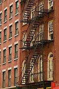 Fire escape on exterior of building,Manhattan,New York,U.S.A.