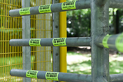 © Licensed to London News Pictures. 01/06/2019. LONDON, UK.  A gate with anti-Brexit stickers amidst security fences have been installed around Winfield House in Regent's Park ahead of the State Visit of President Donald Trump.  Winfield House is the residence of the Ambassador of the United States of America to the Court of St. James's and will host the US President during his visit.  Photo credit: Stephen Chung/LNP