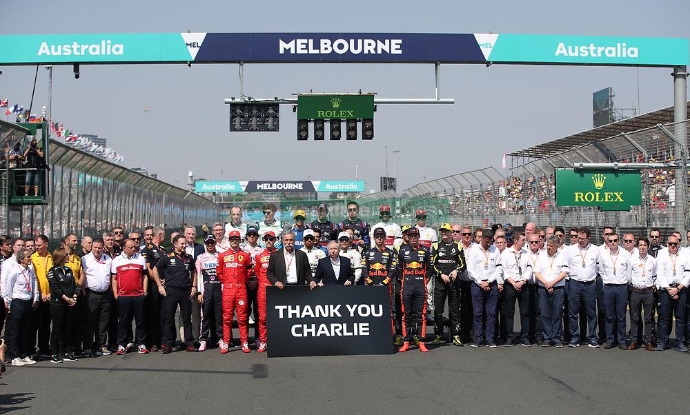 MELBOURNE, March 17, 2019  Drivers pose for group photos before Formula 1 Australian Grand Prix 2019 at the Albert Park in Melbourne, Australia, March 17, 2019. (Credit Image: © Bai Xuefei/Xinhua via ZUMA Wire)