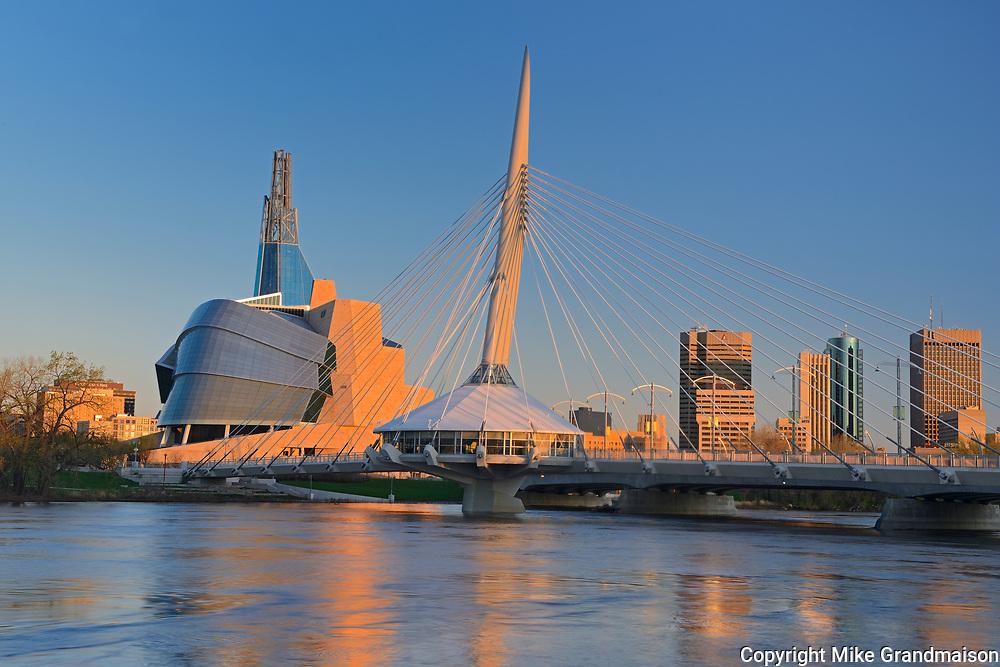 Canadian Museum for Human Rights (CMHR), Esplanade Bridge and Winnipeg skyline at sunrise