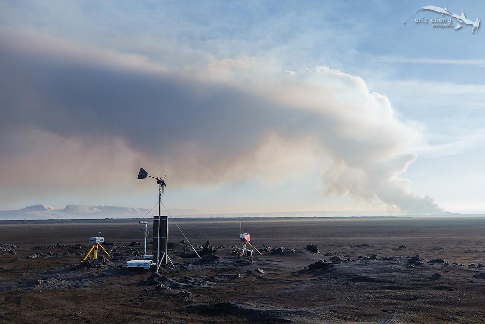 Volcanic and seismic monitoring equipment near the eruption site. Holuhraun eruption, Bardarbunga volcanic system, Iceland.