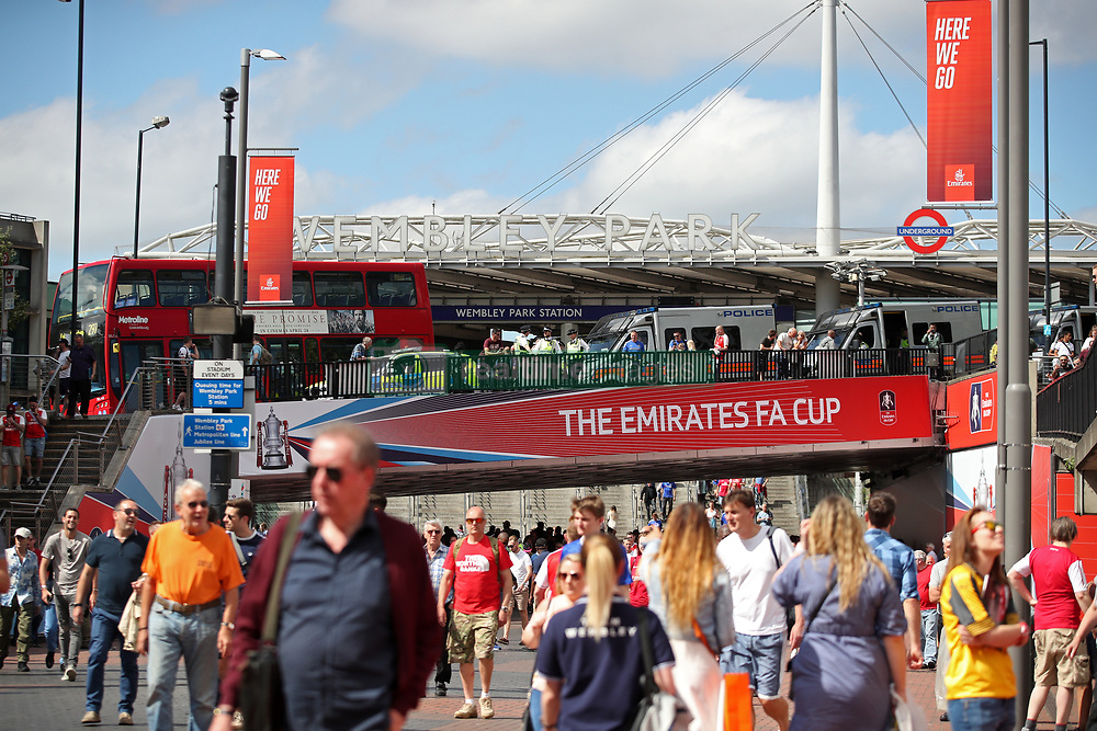 A general view of Wembley Park underground station during the Emirates FA Cup Final at Wembley Stadium, London.
