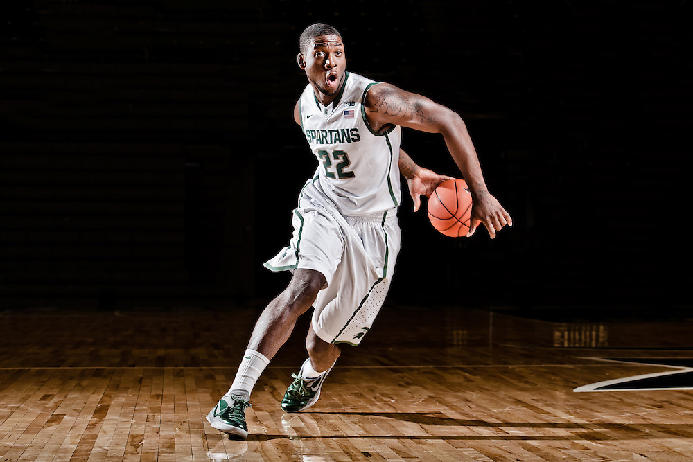 Branden Dawson, Promotional Athlete Portrait for Michigan State University Athletic Department.<br />