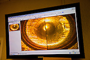 A microscopic view of bullet casing marks projected on the screen at the Juarez City Forensic Lab in Juarez, Mexico January 16, 2009.  An ongoing drug war has already claimed more than 40 people since the start of the year. More than 1600 people were killed in Juarez in 2008, making Juarez the most violent city in Mexico.    (Photo by Richard Ellis)
