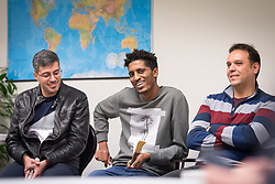 27 October 2018, Stockholm, Sweden: Aman Mohammedgeta from Eritrea (middle) is one of many refugees who've received support through the Goda Grannar project. Here, he shares his story with visitors from ACT Alliance. On Saturday, participants at the 2018 Assembly of the ACT Alliance visited the Stockholm Grand Mosque and the Katarina Parish of Church of Sweden to learn about their interreligious Goda Grannar ('Good Neighbours') project, through which they offer support to refugees and newly arrived people in Sweden. (Oral consent obtained for use by Church of Sweden/ACT Alliance.)