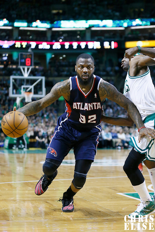 29 March 2013: Atlanta Hawks small forward DeShawn Stevenson (92) drives past Boston Celtics shooting guard Jason Terry (4) during the Boston Celtics 118-107 victory over the Atlanta Hawks at the TD Garden, Boston, Massachusetts, USA.
