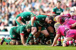 Fraser Balmain of Leicester Tigers prepares to scrummage against his opposite number - Photo mandatory by-line: Patrick Khachfe/JMP - Mobile: 07966 386802 25/04/2015 - SPORT - RUGBY UNION - Leicester - Welford Road - Leicester Tigers v London Welsh - Aviva Premiership