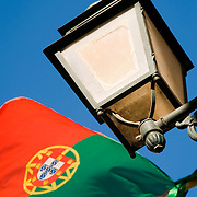 Portuguese flag in the streets of the Barrio Alto in Lisbon