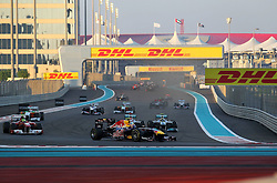 13.11.2011, Yas-Marina-Circuit, Abu Dhabi, UAE, Grosser Preis von Abu Dhabi, im Bild DHL Branding - Mark Webber (AUS), Red Bull Racing - Felipe Massa (BRA), Scuderia Ferrari - Michael Schumacher (GER), Mercedes GP - Nico Rosberg (GER), Mercedes GP  // during the Formula One Championships 2011 Large price of Abu Dhabi held at the Yas-Marina-Circuit, 2011/11/13. EXPA Pictures © 2011, PhotoCredit: EXPA/ nph/ Dieter Mathis..***** ATTENTION - OUT OF GER, CRO *****