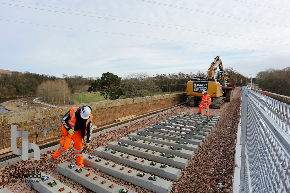 Laying sleepers on the Red Bridge Viaduct over the River Tweed on 4th Feb 2015
