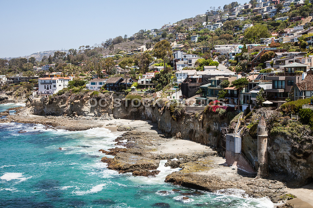 Aerial Stock Photo of Victoria Beach and Tower in Laguna Beach Facing North