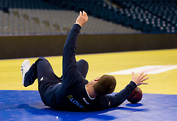 Luka Zvizej of Slovenia during practice session of Slovenia national team 1 day before handball match against Macedonia for 5th place at 10th EHF European Handball Championship Serbia 2012, on January 26, 2012 in Beogradska Arena, Belgrade, Serbia.  (Photo By Vid Ponikvar / Sportida.com)