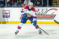 KELOWNA, BC - NOVEMBER 26: Carter Souch #44 of the Edmonton Oil Kings looks for the pass against the Kelowna Rockets  at Prospera Place on November 26, 2019 in Kelowna, Canada. (Photo by Marissa Baecker/Shoot the Breeze)