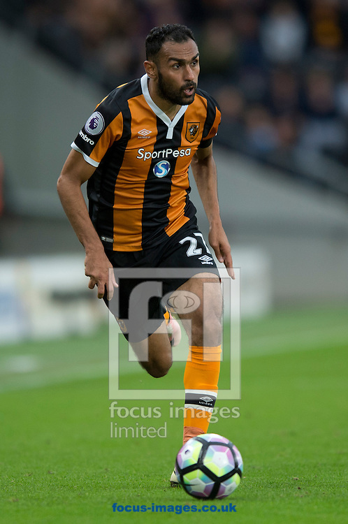 Ahmed Elmohamady of Hull City pushes forward during the Premier League match at the KCOM Stadium, Hull<br /> Picture by Russell Hart/Focus Images Ltd 07791 688 420<br /> 17/09/2016