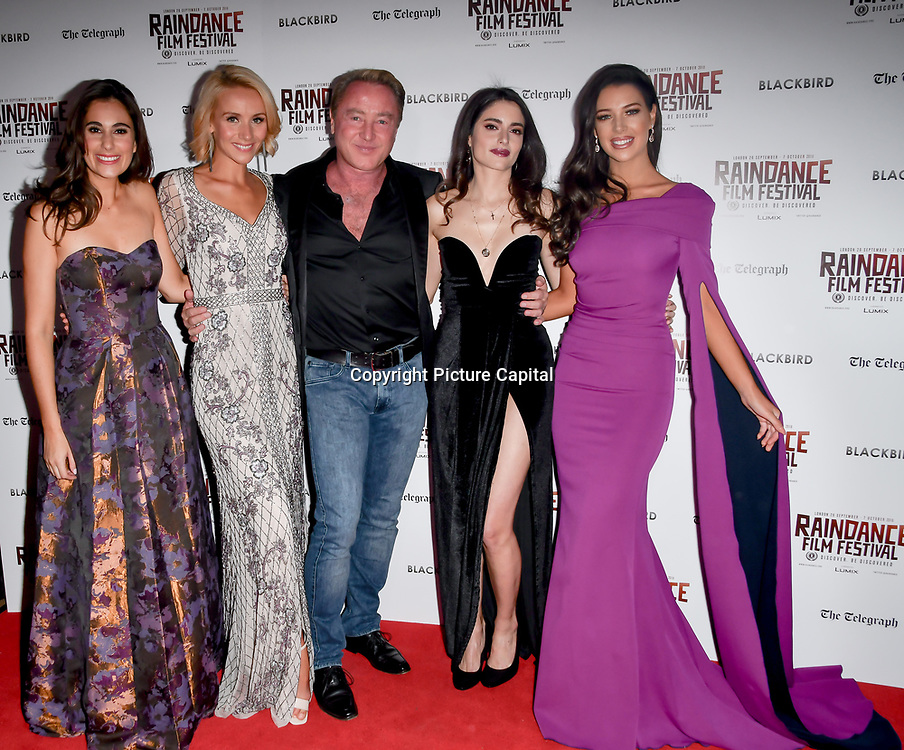 Lara Lemon, Nicole Evans, Michael Flatley, Raha Rahbari and Mary Louise Kelly attend Blackbird - World Premiere with Michael Flatley at May Fair Hotel, London, UK. 28th September 2018.