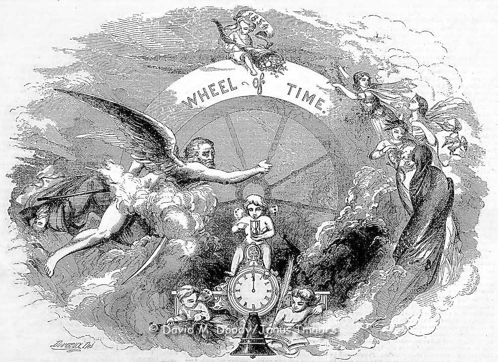 "Father time, angels and the young angel holding the sands of time sitting on a clock.""The Wheel of Time"" Time, new years; holidays  Gleason's Pictorial 1854"