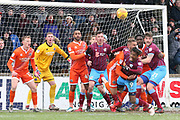 Scunthorpe United forward Ivan Toney (9) is fouled in the penalty area during the EFL Sky Bet League 1 match between Scunthorpe United and Shrewsbury Town at Glanford Park, Scunthorpe, England on 17 March 2018. Picture by Mick Atkins.