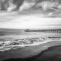 Newport Beach Pier in Newport Beach California black and white photo. Newport Pier is a popular local attraction in Orange County Southern California. Copyright © 2010 Paul Velgos with All Rights Reserved.