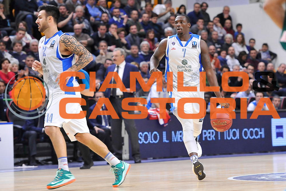 DESCRIZIONE : Eurocup 2014/15 Last32 Dinamo Banco di Sardegna Sassari -  Banvit Bandirma<br /> GIOCATORE : Rakim Sanders<br /> CATEGORIA : Palleggio Contropiede<br /> SQUADRA : Dinamo Banco di Sardegna Sassari<br /> EVENTO : Eurocup 2014/2015<br /> GARA : Dinamo Banco di Sardegna Sassari - Banvit Bandirma<br /> DATA : 11/02/2015<br /> SPORT : Pallacanestro <br /> AUTORE : Agenzia Ciamillo-Castoria / Luigi Canu<br /> Galleria : Eurocup 2014/2015<br /> Fotonotizia : Eurocup 2014/15 Last32 Dinamo Banco di Sardegna Sassari -  Banvit Bandirma<br /> Predefinita :