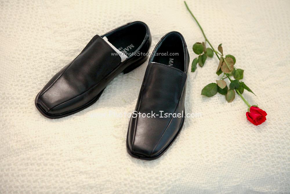 Elegant black leather men's shoes
