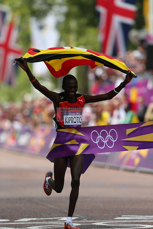 Stephen Kiprotich of Uganda wins the men's marathon during day 16 of the London Olympic Games in London, England, United Kingdom on August 12, 2012..(Jed Jacobsohn/for The New York Times)..