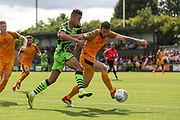 Forest Green Rovers Taylor Allen(12) and Newport County's Mark O'Brien(25) during the EFL Sky Bet League 2 match between Forest Green Rovers and Newport County at the New Lawn, Forest Green, United Kingdom on 31 August 2019.