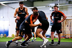 Ryan Bower and James Scott of Worcester Warriors during preseason training ahead of the 2019/20 Gallagher Premiership Rugby season - Mandatory by-line: Robbie Stephenson/JMP - 06/08/2019 - RUGBY - Sixways Stadium - Worcester, England - Worcester Warriors Preseason Training 2019