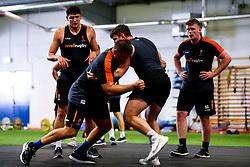 Ryan Bower and James Scott of Worcester Warriors during preseason training ahead of the 2019/20 Gallagher Premiership Rugby season - Mandatory by-line: Robbie Stephenson/JMP - 06/08/2019 - RUGBY - Sixways Stadium - Worcester, England - Worcester Warriors Preseason Training 2019