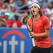 STEFANOS TSITSIPAS yells in anger at the Rock Creek Tennis Center.