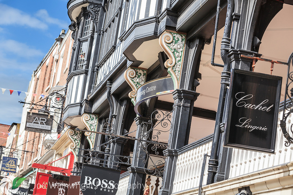 Chester is one of the UK's favourite destinations for shoppers.  Pictured is the entrance to St. Michael's Arcade, which was built at the turn of the 20th century.  This leads to the popular Grosvenor Shopping Centre.