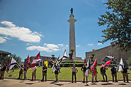 "Group that gathered in front of Lee Circle on Sunday morning to protect Lee Circle, one of the Confererate Monuments slated to be taken down, from the ""Antifa""."