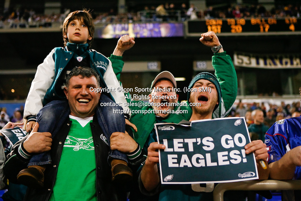 4 Jan 2009: Philadelphia Eagles fans celebrate after the game against the Minnesota Vikings on January 4th, 2008. The Eagles won 26-14 at the Hubert H. Humphrey Metrodome in Minneapolis, Minnesota.