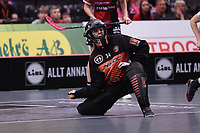 2019-04-27 | Stockholm, Sweden: Kais Mora IF (34) Amanda Hill during the game between KAIS Mora IF and Täby FC IBK at Ericsson Globe Arena ( Photo by: Simon Holmgren | Swe Press Photo )<br /> <br /> Keywords: Ericsson Globe Arena, Stockholm, Floorball, SM-Final, KAIS Mora IF, Täby FC IBK