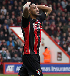 Bournemouth's Callum Wilson holds his head after missing a chance - Photo mandatory by-line: Robbie Stephenson/JMP - Mobile: 07966 386802 - 14/03/2015 - SPORT - Football - Bournemouth - Dean Court - AFC Bournemouth v Blackpool - Sky Bet Championship