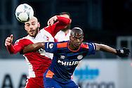 UTRECHT, FC Utrecht - PSV, voetbal, Eredivisie seizoen 2015-2016, 07-02-2016, Stadion Galgenwaard, fel duel tussen PSV speler Nicolas Isimat (R) en FC Utrecht speler Ruud Boymans (L).