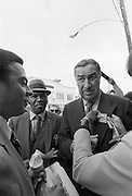 Andrew J. Young - who would later become mayor of Atlanta and U.S. Ambassador to the United Nations - runs into disgraced Congressman Adam Clayton Powell (right) as he stumps for votes during his bid for Congress in 1970 from Georgia's 5th Congressional district. Andrew Jackson Young, born March 12, 1932, is an American politician, diplomat, activist and pastor from Georgia. He has served as a Congressman from Georgia's 5th congressional district, the United States Ambassador to the United Nations, and Mayor of Atlanta. He served as President of the National Council of Churches USA, was a member of the Southern Christian Leadership Conference (SCLC) during the 1960s Civil Rights Movement, and was a supporter and friend of Dr. Martin Luther King, Jr.  Andrew Jackson Young, born March 12, 1932, is an American politician, diplomat, activist and pastor from Georgia. He has served as a Congressman from Georgia's 5th congressional district, the United States Ambassador to the United Nations, and Mayor of Atlanta. He served as President of the National Council of Churches USA, was a member of the Southern Christian Leadership Conference (SCLC) during the 1960s Civil Rights Movement, and was a supporter and friend of Dr. Martin Luther King, Jr. - To license this image, click on the shopping cart below -