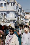 A busy street and old buildings in Pushkar, Rajasthan, India