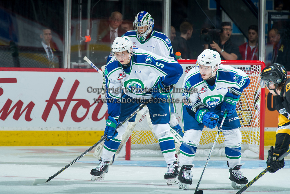 REGINA, SK - MAY 21: Artyom Minulin #5 and Tanner Nagel #25 of Swift Current Broncos line up for the face off against the Hamilton Bulldogs at the Brandt Centre on May 21, 2018 in Regina, Canada. (Photo by Marissa Baecker/CHL Images)