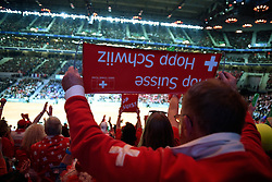 21.11.2014, Stade Pierre Mauroy, Lille, FRA, Davis Cup Finale, Frankreich vs Schweiz, im Bild Schweizer Fans // during the Davis Cup Final between France and Switzerland at the Stade Pierre Mauroy in Lille, France on 2014/11/21. EXPA Pictures © 2014, PhotoCredit: EXPA/ Freshfocus/ Daniela Frutiger<br /> <br /> *****ATTENTION - for AUT, SLO, CRO, SRB, BIH, MAZ only*****