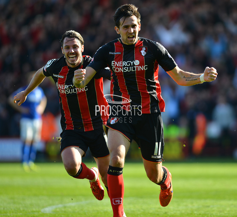 AFC Bournemouth's Charlie Daniels celebrates his goal during the Sky Bet Championship match between Bournemouth and Birmingham City at the Goldsands Stadium, Bournemouth, England on 6 April 2015. Photo by Mark Davies.