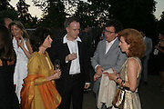 FELICITY WALEY-COHEN, Hans Ulrich Olbrist , Ivan and Manuela WirtH. The Summer Party in association with Swarovski. Co-Chairs: Zaha Hadid and Dennis Hopper, Serpentine Gallery. London. 11 July 2007. <br />