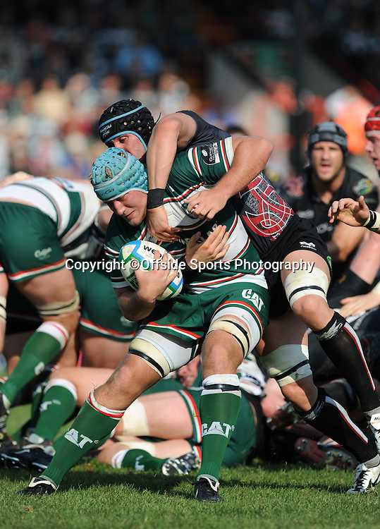 12/10/2008. Rugby Union. Heineken Cup, Pool 3. Leicester Tigers v Ospreys. Marcos Ayerza is tackled by Jonathan Thomas. Leicester, UK. Photo: Offside/Steve Bardens.