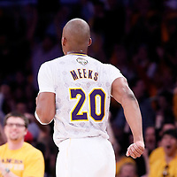 09 March 2014: Los Angeles Lakers shooting guard Jodie Meeks (20) celebrates during the Los Angeles Lakers 114-110 victory over the Oklahoma City Thunder at the Staples Center, Los Angeles, California, USA.